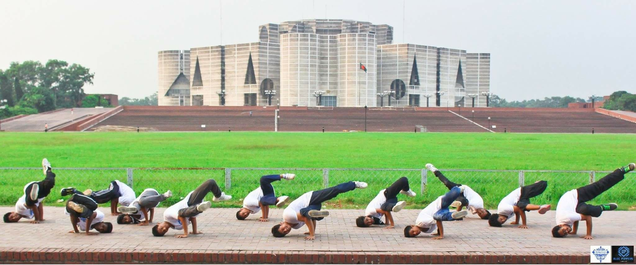 The blue poppers crew, in front of the parliament building of Bangladesh.